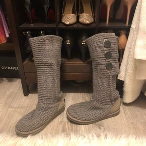 UGG gray knit boots
